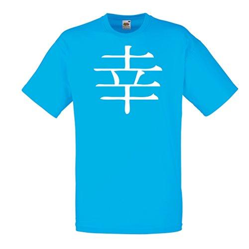 lepni.me Camisetas Hombre Felicidad logograma - Símbolo de Kanji Chino/Japonés (X-Large Azul Blanco)