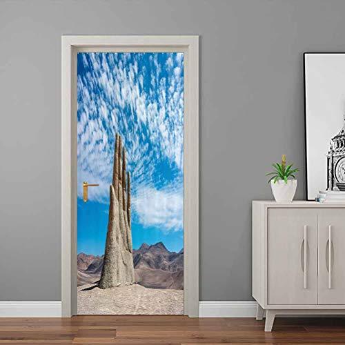Monument Decor Door Decal Sticker Hand Sculpture Famous Landmark The Symbol of Atacama Desert in Chile Panorama Bedroom Wallpaper Self-Adhesive Door Grey Blue | 30