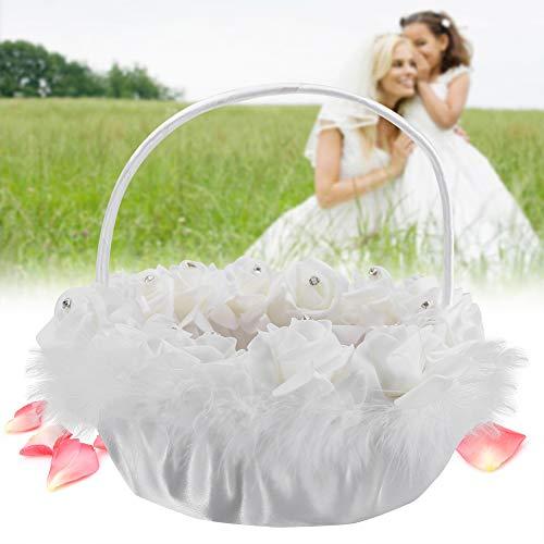 Duokon Hochzeit Blumenkorb Süßigkeiten Spitze mit Strass Dekor liefert Korb Spitze romantische Frau Mädchen weiß