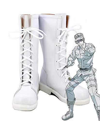 Celle al Lavoro. Anime Cosplay globuli Bianchi Scarpe Stivali Custom Made, Uomo, Infradito Colorati Estivi, con finte Perline, 8.5 D(M) US Male