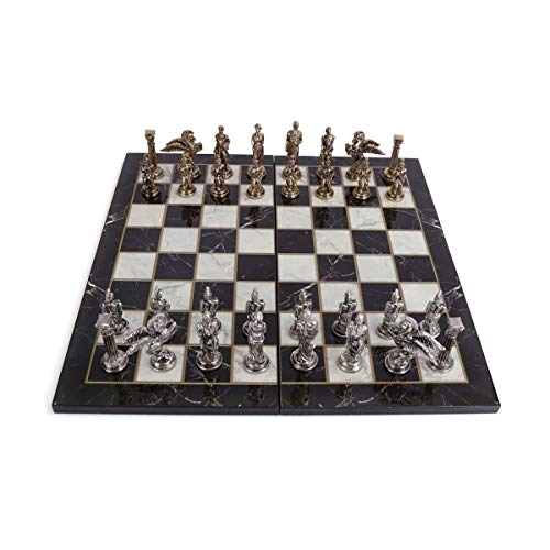 GiftHome Juego de ajedrez de metal de Pegaso para adultos, piezas hechas a mano y tablero de ajedrez de madera con diseño de mármol, tamaño King 3,35