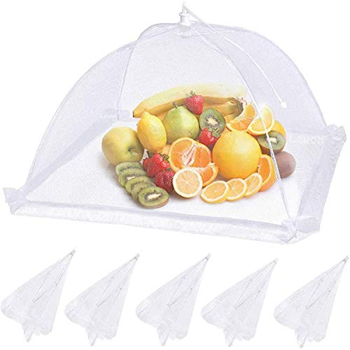 SNOWINSPRING Food Cover Mesh Food Tent, 6 Pack, White Cloth Covers, Umbrella Screen Tents, Patio Bug Net for Outdoor Camping