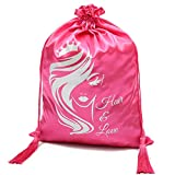 WEDAO 5 Pieces Silk Satin Bags with Drawstring 15x11 Inch - Wig Bags Storage for Multiple Wigs - Hair Packaging Bags for Bundles Hair Extensions & Tools Wholesale - Easy to Package and Use (Pink)