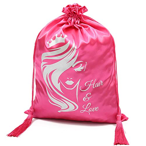 WEDAO 5 Pieces Silk Satin Bags with Drawstring 15x11 Inch - Wig Bags Storage for Multiple Wigs - Hair Packaging Bags for Bundles Hair Extensions & Tools Wholesale - Easy to Package and Use (Pink)…