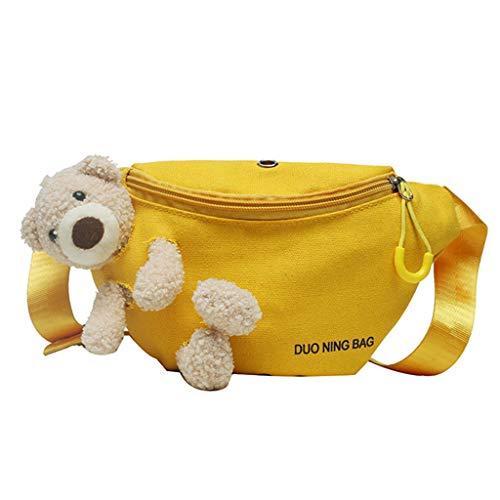 Zxcb Cute Bear Canvas Wild Chest Bag Trendy All-match Messenger Women Casual Daily
