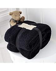 RayyanLinen - Manta de forro polar para sofá o cama (200 x 240 cm), color negro