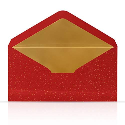 10 Briefumschläge Briefkuverts Rot mit Gold Metallic Innenfutter 110 x 220 mm für Grußkarten Gutscheine Geldgeschenke Einladungsumschläge