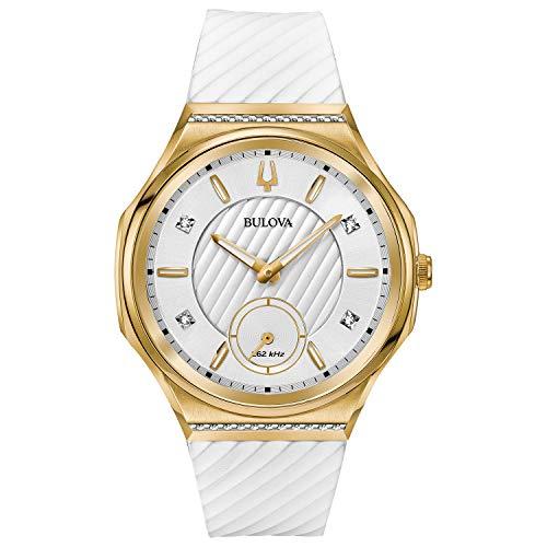 Bulova Reloj Curv para mujer, acero inoxidable con correa de silicona blanca, tono dorado (Modelo: 98R237)