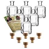gouveo 6er Set Flasche Cube 250 ml inkl. Holzgriffkorken, Likörflaschen, Schnapsflaschen,...