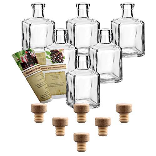 gouveo 6er Set Flasche Cube 250 ml inkl. Holzgriffkorken, Likörflaschen, Schnapsflaschen, Essigflaschen, Ölflaschen