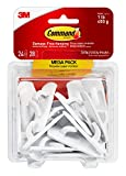 Command Small Utility Hooks Mega Pack, White, 24-Hooks (17002-MPES), Organize Damage-Free