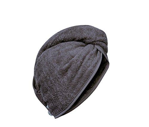 Carenesse Haartulband, antracietgrijs, 100% absorberend katoen, opzetstukken, oprollen, vastknoppen, stevige grip, hoofdhanddoek, haarturband, hoofddoek, haarturban, hoofddoek, haardroogdoek, handdoek voor haar