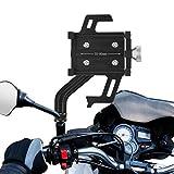 Qomolo Soporte Móvil Moto, Ajustable Soporte Bicicleta Motocicleta para 3.5-7.2 Pulgada Smartphone, Aleación de Aluminio Anti Vibración Soporte Telefono para Motocicleta Montaña Scooter