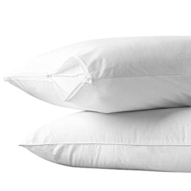 AllerEase 100% Cotton Allergy Protection Hypoallergenic Zippered Pillow Protectors (Set of 2), Standard - 20  x 26