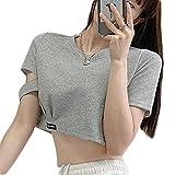 Cuello Redondo Women Crop Top Mujer Manga Corta Top Cropped con Gris Claro Letras Camisetas Cortas De Ombligo S