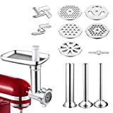Metal Food Grinder Attachment Compatible with All KitchenAid Stand Mixers Includes 3 Sausage Stuffer Tubes,Durable Meat Grinder Attachment for KitchenAid