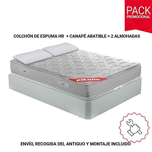PIKOLIN Pack Colchón viscoelástico Espuma HR 150x190, canapé Base a