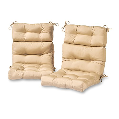 Greendale Home Fashions Outdoor High Back Chair Cushion (set of 2), Stone