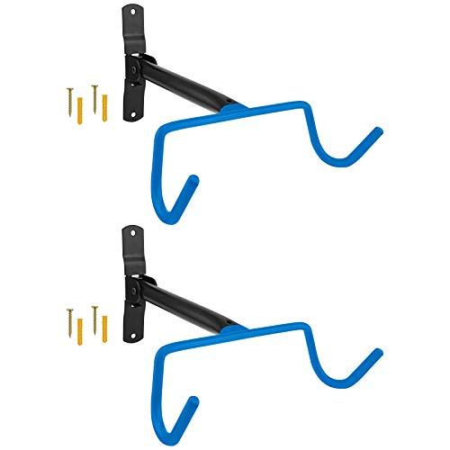 2x WELLGRO Wand Fahrradhalter - Stahl - Tragkraft bis 30 kg - Wandmontage - Fahrrad Ständer - klappbar - Farbe wählbar, Farbe:Blau