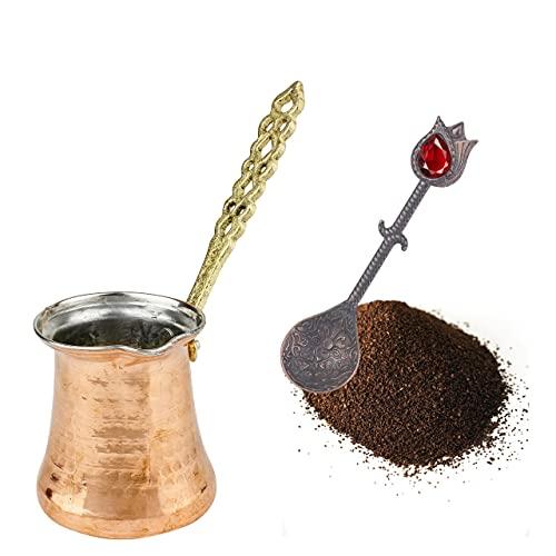 Türkische Kaffeekanne: Kupferne Cezve-Kaffeekanne für türkischen Kaffee   Ibrik arabische Kaffeekanne für den Herd mit Griff   Handgefertigte osmanische gehämmerte Kupferkanne   2 Portionen