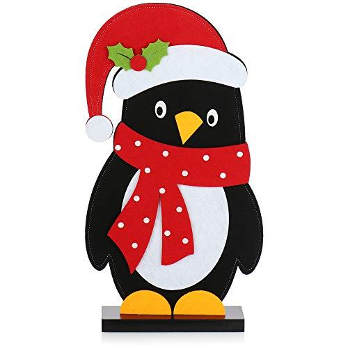 com-four® Navidad decoración pingüino Figura de Fieltro - decoración de alféizar de Ventana para Navidad - decoración de Invierno - Figura de Navidad - decoración de Fieltro