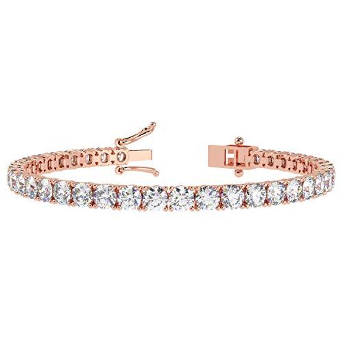 Braccialetto tennis da donna con diamante rotondo certificato – Personalizzabile in metallo e diamante. e 18ct rosa oro, cod. BR112.9