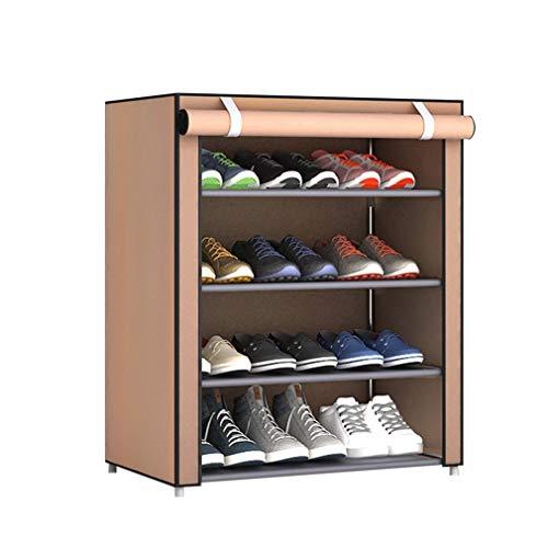 WXZQ Estante de Zapatos de Tela no Tejida de Gran tamaño a Prueba de Polvo Organizador de Zapatos Hogar Dormitorio Dormitorio Zapateros Estante Gabinete Café 5 Capas 4 celosía