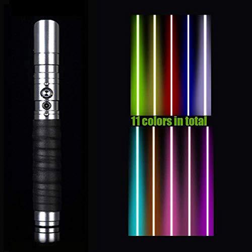 Sable de luz de Star Wars, 11 colores cambiables de metal de aluminio con 3 modos Sound Force FX Dueling Lightsable dorado Hilt (hoja de 73 cm), negro (plata)