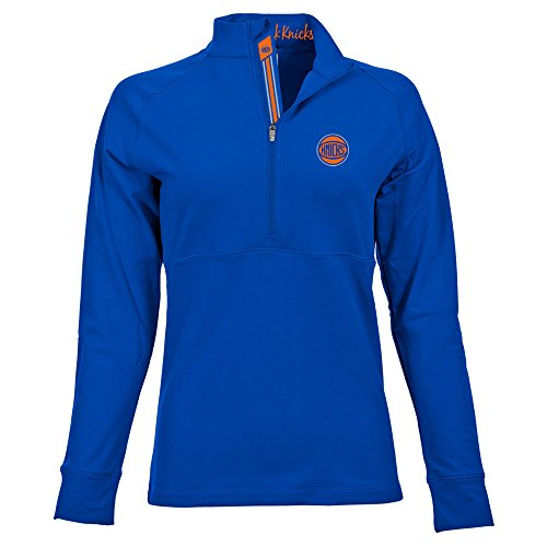 Levelwear LEY9R NBA New York Knicks Adult Women Harmony Banner Stripe Half Zip Mid-Layer, Small, Royal Blue image
