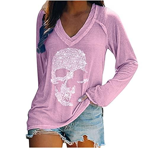 Wave166 Blusa para mujer, camiseta de Halloween, monocolor, sexy, cuello en V, parte superior de manga larga, camiseta impresa, camisa de fiesta, informal, ropa deportiva, morado, M