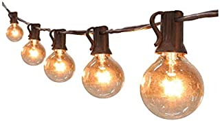 Globe Black String Lights Listed Patio Lights for Indoor Outdoor Commercial Decor 25Ft with 25 Clear Bulbs Outdoor String ...