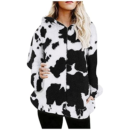 Flannel Shirts for Women Plus Size, Dressy Cute Clothes for Teen Girls Waterproof Solid Jackets Coats Cozy Cool Leopard Print T Shirt Hoodies Fuzzy Sweater for Women Black