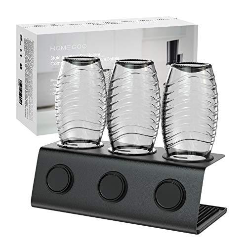 Homegoo Edelstahl Flaschenhalter kompatibel mit Sodastream Flaschen Abtropfhalter 3 er - Abtropfständer für Sodastream Crystal und Emil Flaschen, Abtropfgestell SodaStream Flaschenhalter