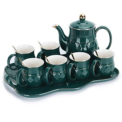 fanquare 8 Piezas Juegos de Té de Porcelana Inglesa Verde, Juego de Café de Cerámica para Adultos, Una Tetera, Juego de 6 Tazas de Café con Bandeja
