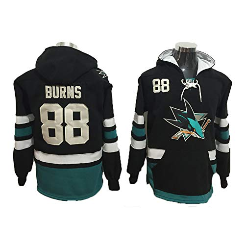 Yajun Kapuzen Pullover Hoodie NHL Joe Thornton#19/Brent Burns#88 San Jose Sharks Sweatshirt Slim Fit Langarm Colorblock T-Shirt Eishockey Trikots,88,M