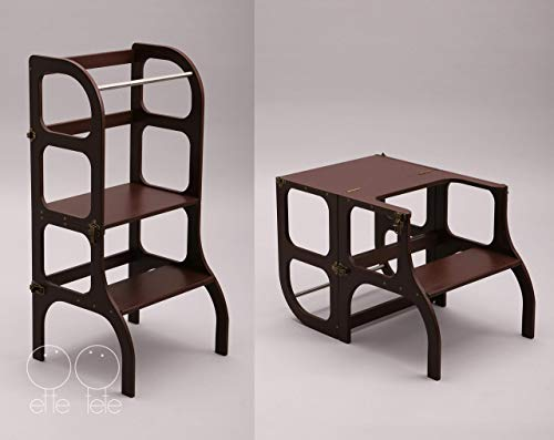 Torre di apprendimento, Montessori furniture Learning tower - table, chair Step'n'Sit, toddler Kitchen helper Step stool - dark BROWN color/antique BRASS clasps