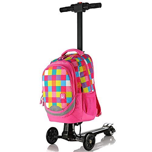 """WNZL Erwachsene Kinder Roller Gepäck, 17\"""" Scooter Rollkoffer mit Rädern Skateboard Abnehmbarer tragbares Klapp-Design Commuting Motorroller für Reisen, Schule und Wirtschaft,B"""