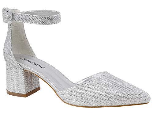 Greatonu Sandali da Donna Sandali Bassi con Cinturino alla Caviglia Mary Jane Classic Court Shoes Glitter d'Argento 37EU