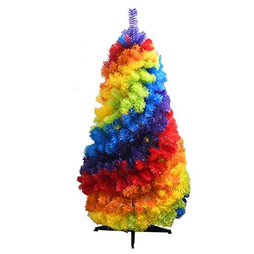 NLRHH Regenbogen künstlicher Weihnachtsbaum gleich Liebe Regenbogen Weihnachtsbaum faltbar auf dem PVC-Regenbogen-Weihnachtsbaum 1,2m Peng