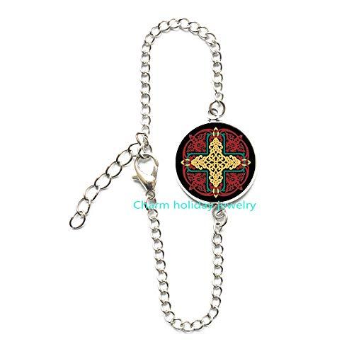 Celtic Jewelry-Red and Yellow Knotwork Mandala-1 Inch Diameter Glass Bangle Bracelet-#307