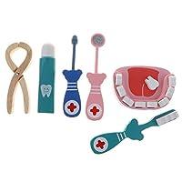 aternee 6ピース/個キッズドクター:歯科医義歯モデルふりキット教育用木のおもちゃ