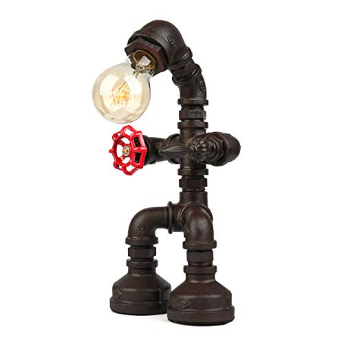 BAYCHEER Industrial Retro Style Rust Iron Robot Plumbing Pipe Desk Table Lamp Light with Red Valve Handle and Switch 1…