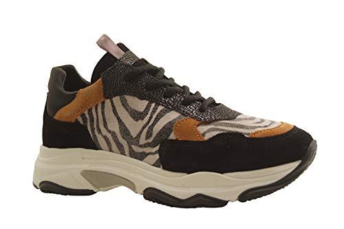 Reqins UNIC Mix - Zapatillas deportivas de piel de cebra, color negro, Negro (Negro ), 34 EU