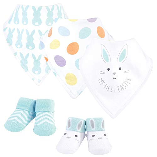 Hudson Baby Unisex Baby Cotton Bib and Sock Set, Neutral 1St Easter, 0-9 Months