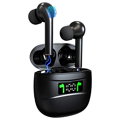 Wireless Headset Bluetooth 5.2 True Wireless Earbuds LED Battery Display TWS Stereo Waterproof Bluetooth Earphone with Built-in Microphone Fitness Running Sports Wireless Earbud with Charging Box
