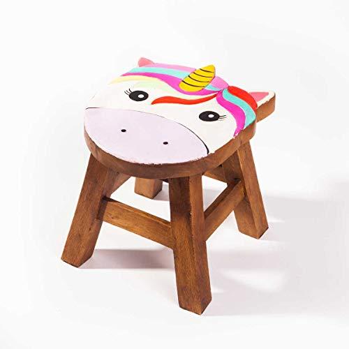 Taburete infantil (madera maciza, 25 cm de altura), diseño de unicornio
