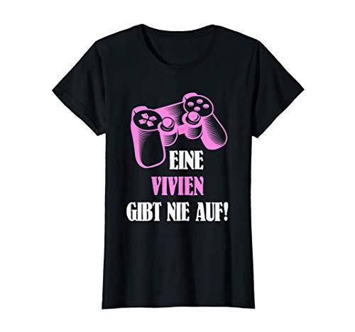 Damen Eine Vivien Gibt Nie Auf! Personalisiertes Gamerin T-Shirt