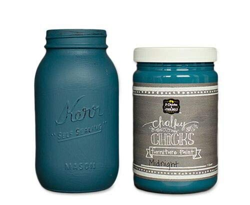 Chalky Chicks   Chalk Finish Paint   Perfect for Furniture, Cabinets, Home Decor, & DIY Craft Projects   32 oz   Midnight