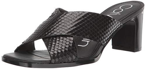 Calvin Klein Damen Dylan Sandalen mit Absatz, Schwarzes Schlangenmuster, 38 EU