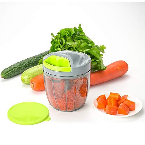 Handzerkleinerer manuelle Küchenmaschine, Zugschnur zum Schneiden von Gemüse, Zwiebeln, Knoblauch, Nüssen, Tomaten, Fleisch in Sekunden, gebogene Edelstahlklingen (Grün)